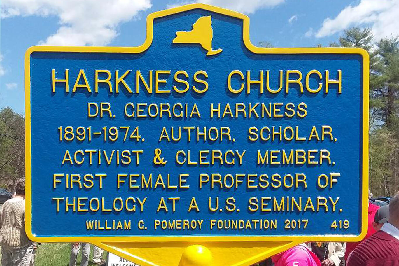 Harkness Church historic marker